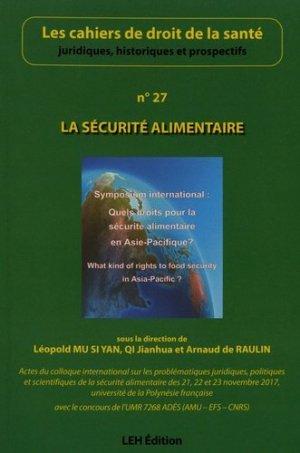 La sécurité alimentaire (n° 27) - les etudes hospitalieres - 9782848748047 -