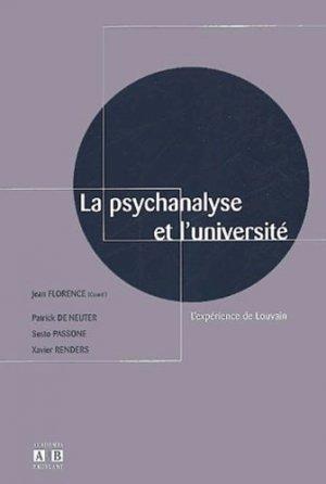 La psychanalyse et l'université. L'expérience de Louvain - academia bruylant - 9782872096725 -