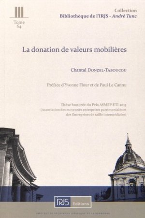 La donation de valeurs mobilières - irjs - 9782919211470 -