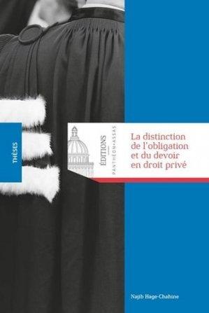 La distinction de l'obligation et du devoir en droit privé - Editions Panthéon-Assas - 9791090429840 -