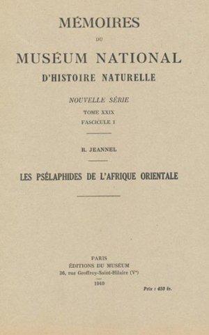 Les Psélaphides de l'Afrique orientale - museum national d'histoire naturelle - mnhn - 2302222333347 -
