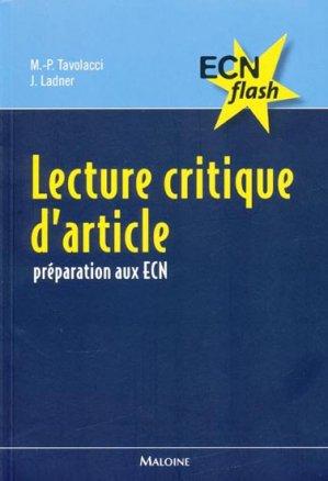 Lecture critique d'article - maloine - 9782224030155 -