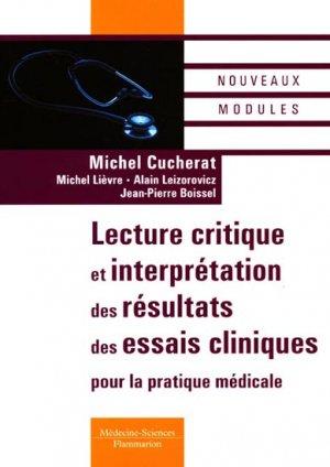 Lecture critique et interprétation des résultats des essais cliniques pour la pratique médicale - lavoisier msp - 9782257111760 -