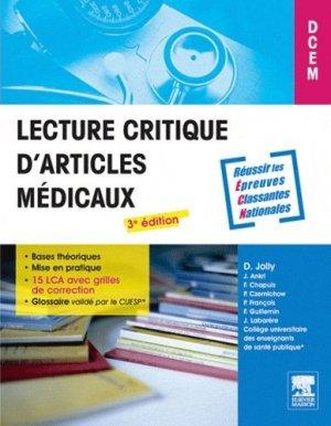 Lecture critique d'articles médicaux - elsevier / masson - 9782294715013 -