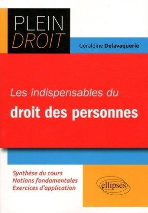 Les indispensables du Droit des personnes - Ellipses - 9782340019805 -
