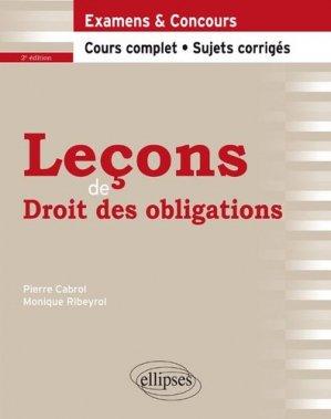 Leçons de droit des obligations. 2e édition - Ellipses - 9782340028548 -