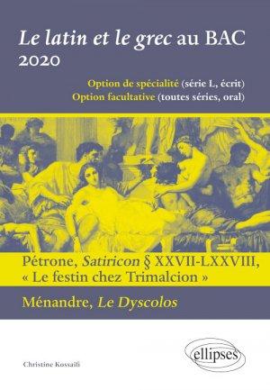Le latin et le grec au BAC 2020 - ellipses - 9782340034259