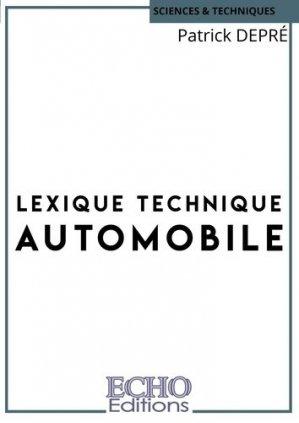 Lexique technique automobile - ECHO Editions - 9782381020648 -