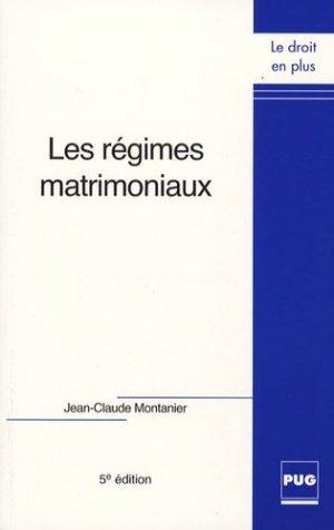 Les régimes matrimoniaux. 5e édition - Presses Universitaires de Grenoble - 9782706113703 -