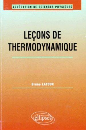 Leçons de thermodynamique - ellipses - 9782729867126 -