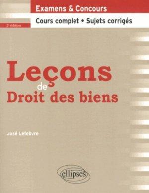Leçons de droit des biens. 2e édition - Ellipses - 9782729882082 -