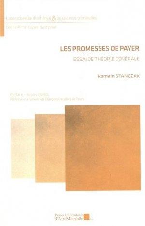 Les promesses de payer. Essai de théorie générale - presses universitaires d'aix-marseille - 9782731411126 -