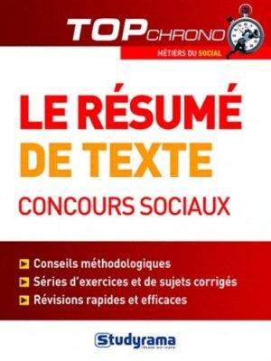Le résumé de texte, concours sociaux - Studyrama - 9782759016433 -