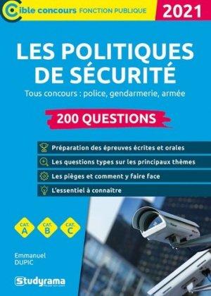 Les politiques de sécurité 200 questions  - Studyrama - 9782759045877 -