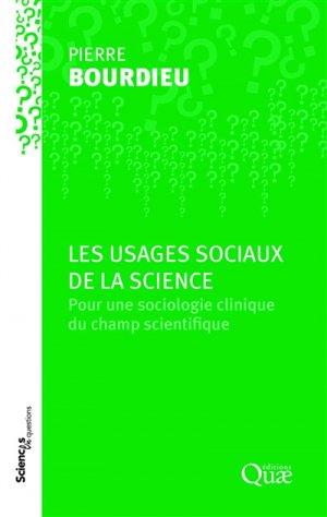 Les usages sociaux de la science - quae - 9782759229260 -