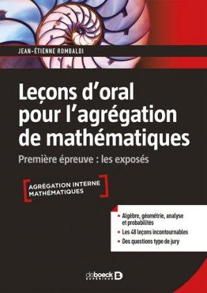 Leçon d'oral pour l'agrégation de mathématiques - de boeck - 9782807321533 -
