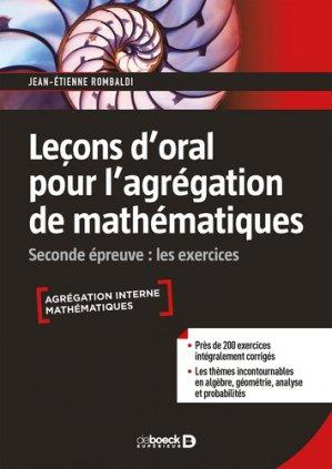 Leçon d'oral pour l'agrégation de mathématiques - de boeck - 9782807321540