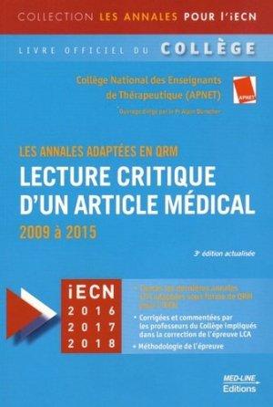 Lecture critique d'un article médical (LCA) - med-line - 9782846781589