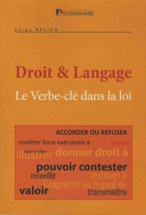 Le verbes-clés dans la loi - La Maison du Dictionnaire - 9782856083482 -