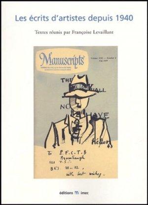 Les écrits d'artistes depuis 1940. Actes du colloque international Paris et Caen, 6-9 mars 2002 - IMEC - 9782908295726 -