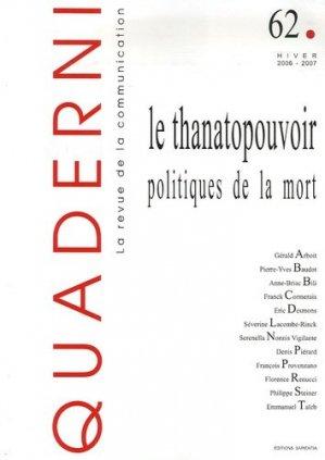 Le thanatopouvoir : politiques de la mort - Sapientia - 9782911761140 -