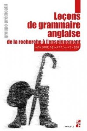 Leçons de grammaire anglaise, de la recherche à l'enseignement - publications de l'universite de provence - 9791032002315 -