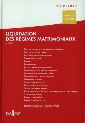 Liquidation des régimes matrimoniaux. Edition 2018-2019 - dalloz - 9782247175758 -