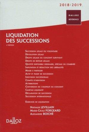 Liquidation des successions. Edition 2018-2019 - dalloz - 9782247179350 -