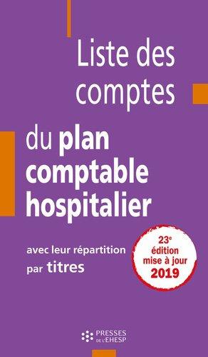 Liste des comptes du plan comptable hospitalier avec leur répartition par titres - EHESP - 9782810907656 -