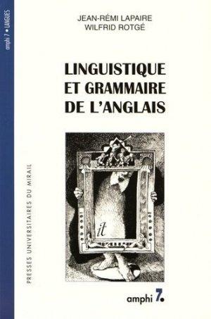 Linguistique et grammaire de l'anglais - presses universitaires du mirail  - 9782858164356 -