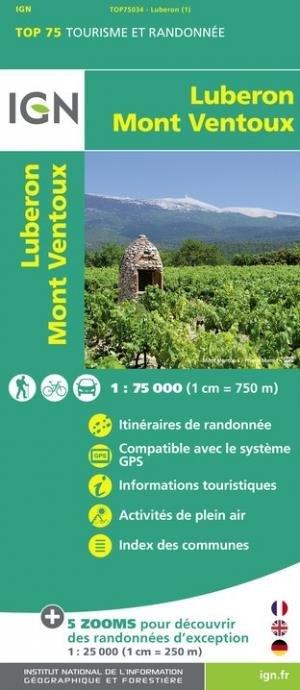 Luberon/Mont Ventoux. 1/75 000 - Institut Géographique National - 9782758549765 -
