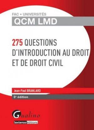 275 questions d'introduction au droit et de droit civil. 5e édition - gualino - 9782297045384 -