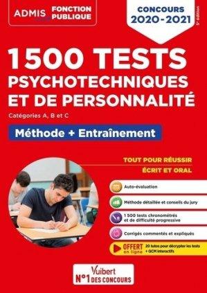 1500 Tests psychotechniques et de personnalité. Entraînement intensif, Edition 2020-2021 - vuibert - 9782311208306 -