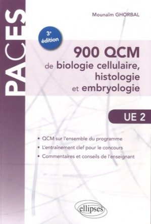 900 QCM de biologie cellulaire, histologie et embryologie UE2 - ellipses - 9782340008038 -