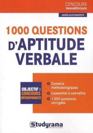 1000 questions d'aptitude verbale - studyrama - 9782759015283