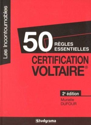 50 règles essentielles certification Voltaire. 2e édition - Studyrama - 9782759035663 -