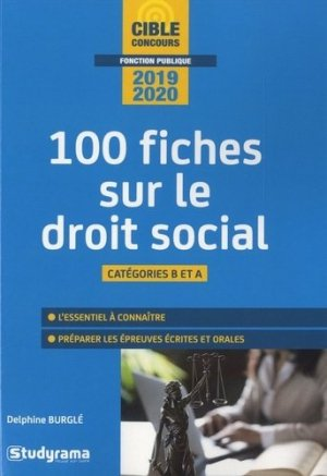 100 fiches sur le droit social. Catégories B et A, Edition 2019-2020 - Studyrama - 9782759039685 -