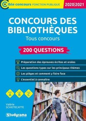 200 Questions sur les concours des bibliothèques. Edition 2020-2021 - Studyrama - 9782759044221 -