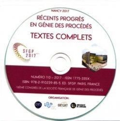 16eme congrès de la sfgp 2017, nancy. (cd-rom) - societe francaise de genie des procedes - 9782910239855