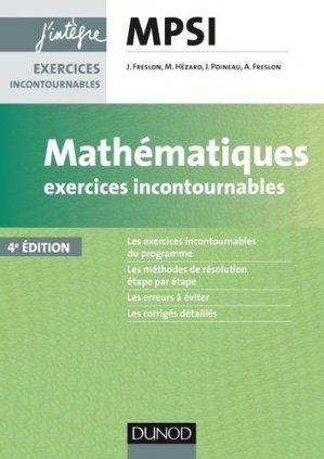 Mathématiques Exercices incontournables MPSI - dunod - 9782100749287 -