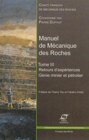 Manuel de Mécanique des Roches Tome III - presses des mines - 9782356710352