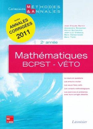 Mathématiques BCPST-Véto 2e année - lavoisier / tec et doc - 9782743013820 -