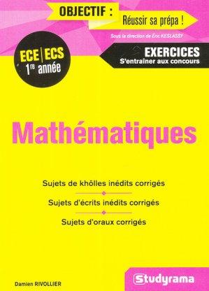 Mathématiques - ECE/ECS 1re année - studyrama - 9782759036462 -