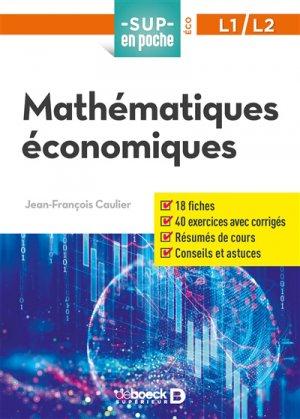 Mathématiques économiques - De Boeck - 9782807315518 -