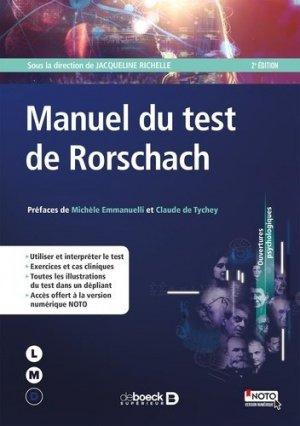 Manuel du Test de Rorschach - de boeck superieur - 9782807315679