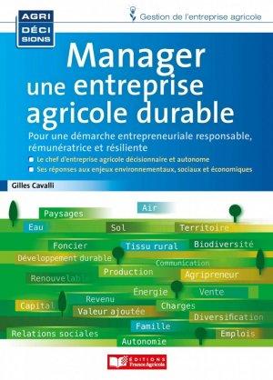 Manager une entreprise agricole durable - france agricole - 9782855576329 -