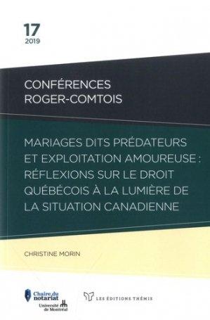 Mariages dits prédateurs et exploitation amoureuse : réflexions sur le droit québécois à la lumière de la situation canadienne - Themis - 9782894004555 -