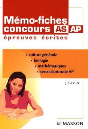 Mémo-fiches concours AS AP épreuves écrites - elsevier / masson - 9782294703546 -