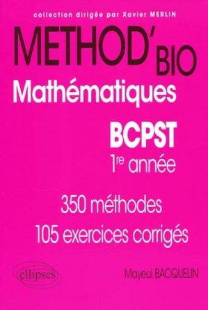 Method'bio Mathématiques BCPST  1er année - ellipses - 9782729860806 -