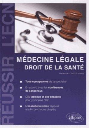 Médecine légale - Droit de la Santé - ellipses - 9782729873974 -